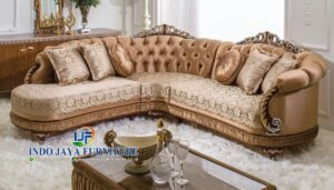 Sofa Sudut Klasik Ruang Tamu Mewah Terbaru 2018 Mebel Jepara IJF-0014