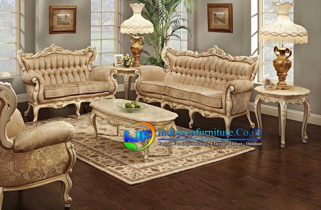 Set Sofa Ruang Tamu Jati Ukir Klasik Sukoharjo