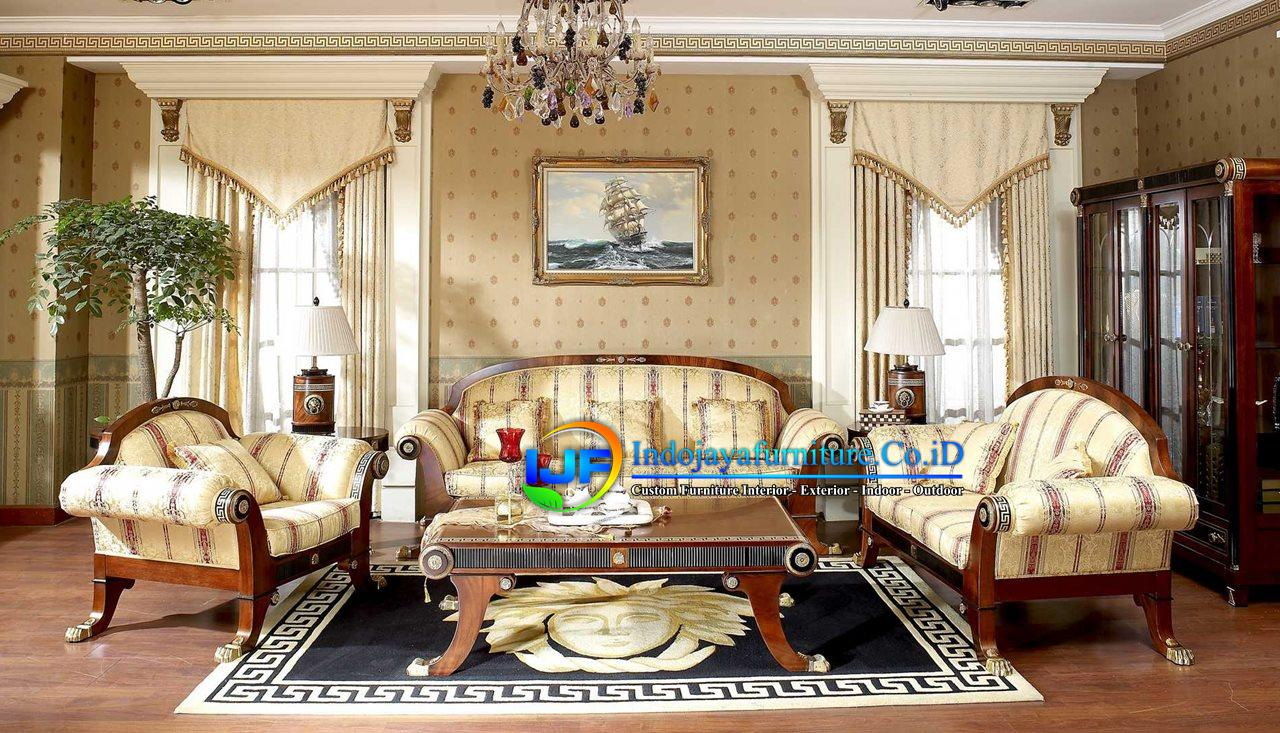 Set Sofa Ruang Tamu Jati Ukir Klasik Bandung Barat