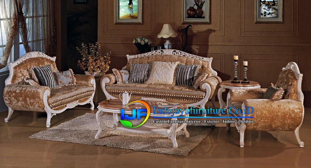 Sofa Tamu Ukiran Klasik Gold Pulau Pramuka
