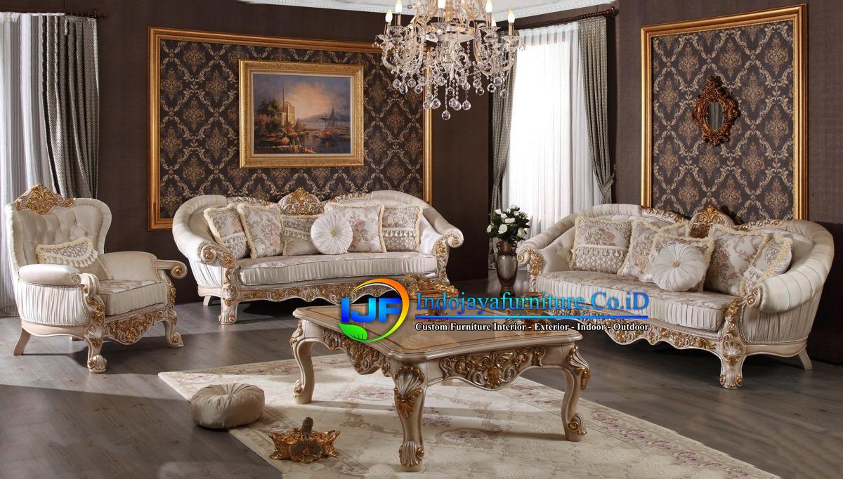 Set Sofa Ruang Tamu Jati Ukir Klasik Sampang