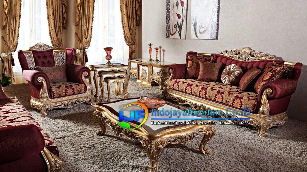 Set Sofa Ruang Tamu Jati Ukir Klasik Grobogan