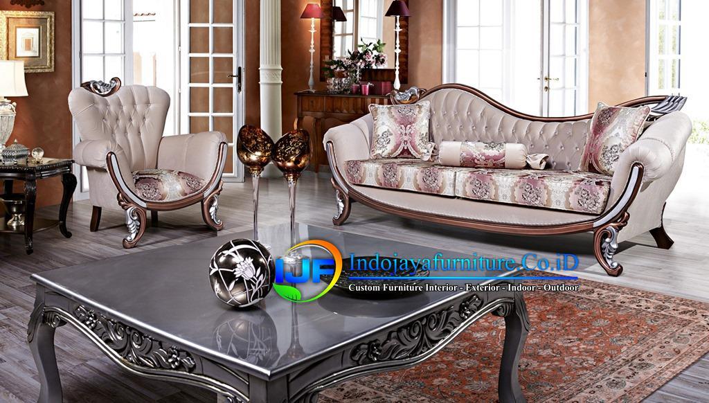 Set Sofa Ruang Tamu Jati Ukir Klasik Bangkalan