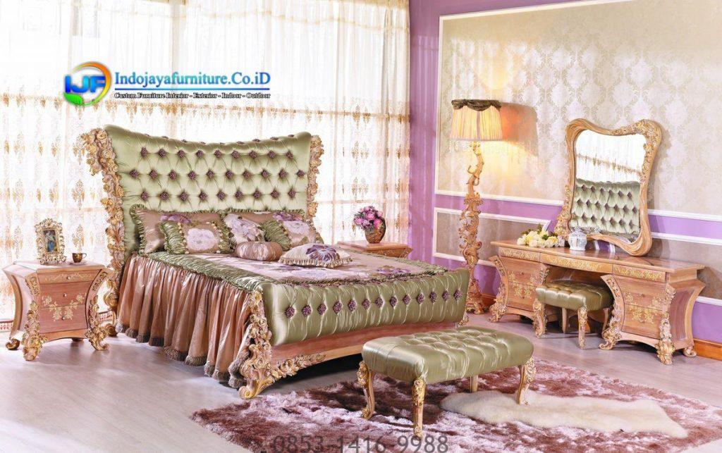Set Tempat Tidur Klasik Boroque Mebel Mewah Gold Terbaru Jepara IJF-0188