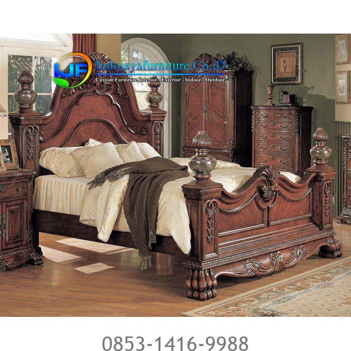 Set Tempat Tidur Jati Klasik Jepara IJF-0189