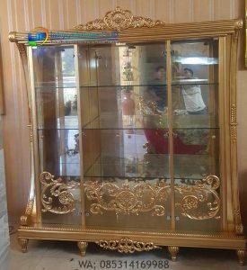 Lemari Hias Klasik Gold Mebel Jepara Mewah Terbaru Florence IJF-0172