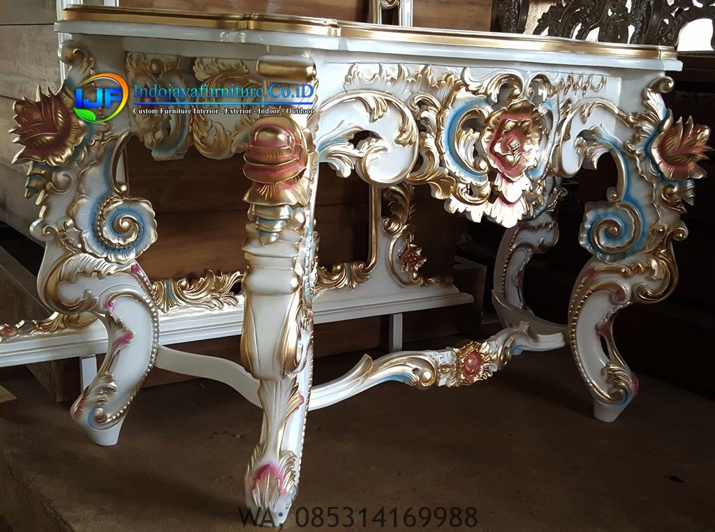 Meja Konsul Kaca Cermin Model Mewah Klasik Terbaru, Console Table Classic Rococo IJF-0178