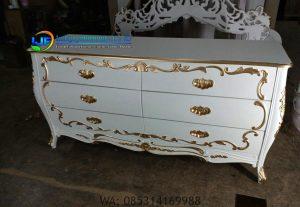 Meja Konsul Mewah Cermin Hias Ruang Tamu, Cermin Hias Ukir Terbaru, Furniture Cat Duco Meja Konsul Klasik Jepara IJF-0176