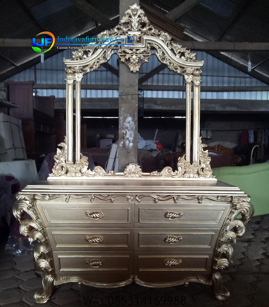 Meja Konsul Mewah Ukiran Jati Terbaru, Meja Konsul Hias Gold Klasik Terbaru, Meja Konsul Jati Mebel Jepara IJF-0177
