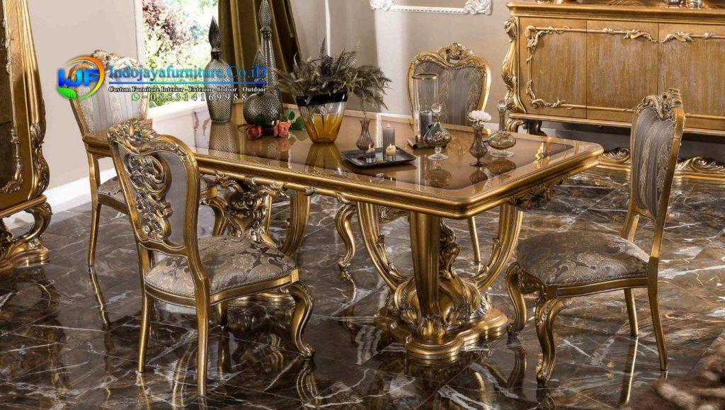 meja makan klasik mewah gold