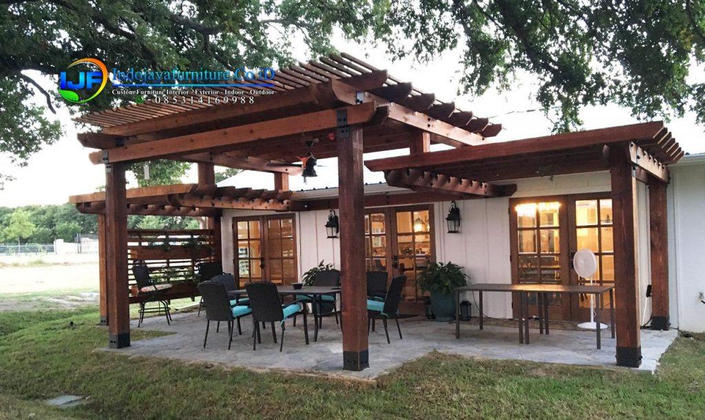 Desain Canopi Teras Rumah Minimalis gazebo Kayu Jati Modern Terbaru IJF-0117